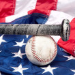 Photo: Baseball on American flag