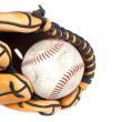 Baseball and glove on white background - Stock Photo