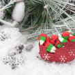 Christmas candy in sleigh — Stock Photo