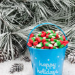 Decorative pail of Christmas candy - ストック写真