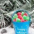 Decorative pail of Christmas candy — Stock Photo #7453311
