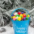 Decorative pail of Christmas candy — Stock Photo #7453315