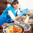 Homemaker washing dishes - Stock Photo