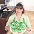 Woman making cupcakes - Stock fotografie
