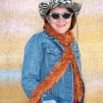 Caucasian woman wearing unusual clothing — Stock Photo