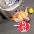 Dead road worker — Stock Photo