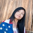 Patriotic Asian woman — Foto Stock