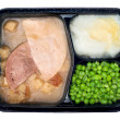 Ham and turkey TV dinner - Stock Photo