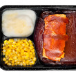 TV dinner of ribs — Stock Photo