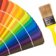 Paint color cards and brush — Stock Photo #7454199