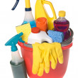 Bucket of cleaning supplies — Stockfoto