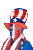 Patriotic man in costume celebrating July fourth — Stok fotoğraf