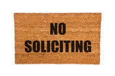 Doormat with no soliciting text — Stock Photo