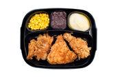 Chicken TV dinner in plastic tray — Stock Photo