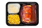 TV dinner of ribs — 图库照片