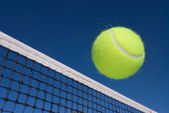 Tennis ball and net — Stock Photo