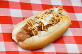 Chili dog on picnic table — Stock Photo