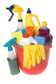Bucket of cleaning supplies — Stock Photo