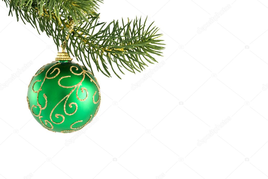 Green and gold christmas tree ornament stock photo for Green and gold christmas tree