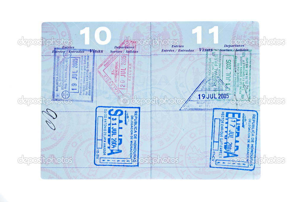 A used passport with visa stamps from Malaysia, Indonesia and Honduras. — Stock Photo #7453883