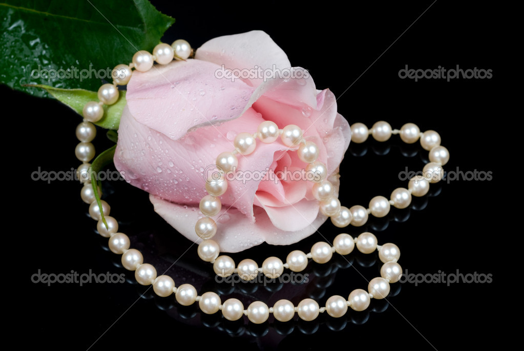 A pink misted rose with a string of pearls reflects off a black surface. — Stock Photo #7454428