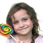 küçük kız ve şeker PIN tekerlek enayi — Stok fotoğraf
