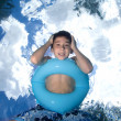 Boy swimming and looking underwater. — Stock Photo #7636859