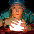Fortune Teller and Crystal Ball — Stock Photo