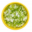 Bowl of diced onions and bell peppers — Stock Photo
