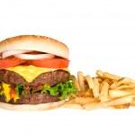 hamburger e patatine fritte — Foto Stock