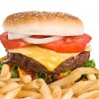 Hamburger and french fries - Stock Photo