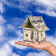 Royalty-Free Stock Photo: Money house held against the sky