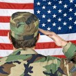 Saluting the American Flag - Stock Photo