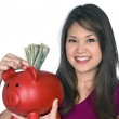 Woman with piggy bank — Stock Photo #7637287