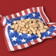 Basket of July fourth peanuts — Stock Photo