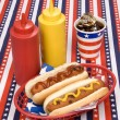 Fourth of July hotdogs — Stock Photo