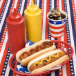 Stock Photo: Fourth of July hotdogs