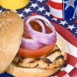 Chicken burger on Fourth of July — Stock Photo #7637578