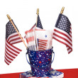 July Fourth napkins and American flags — Stock Photo #7637584