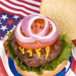 Stock Photo: Juicy fourth of July hamburger
