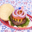 Stockfoto: July fourth hamburger