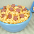 Stock Photo: Macaroni and cheese with sliced hotdogs