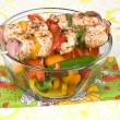 Chicken kebob skewers with bell peppers - Stock Photo