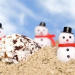 Snowmen on beach — Stock Photo #7637955