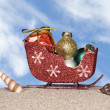 Santa's sleigh on the beach — Stock Photo