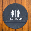 Brass restroom sign - Stock Photo