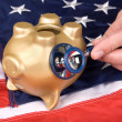 Stock Photo: Dead piggy bank in tough economic times