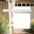 Stock Photo: Blank home for sale sign
