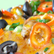 Close up of nacho topings — Stock Photo