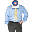Businessman with bulls eye on forehead — Stock Photo